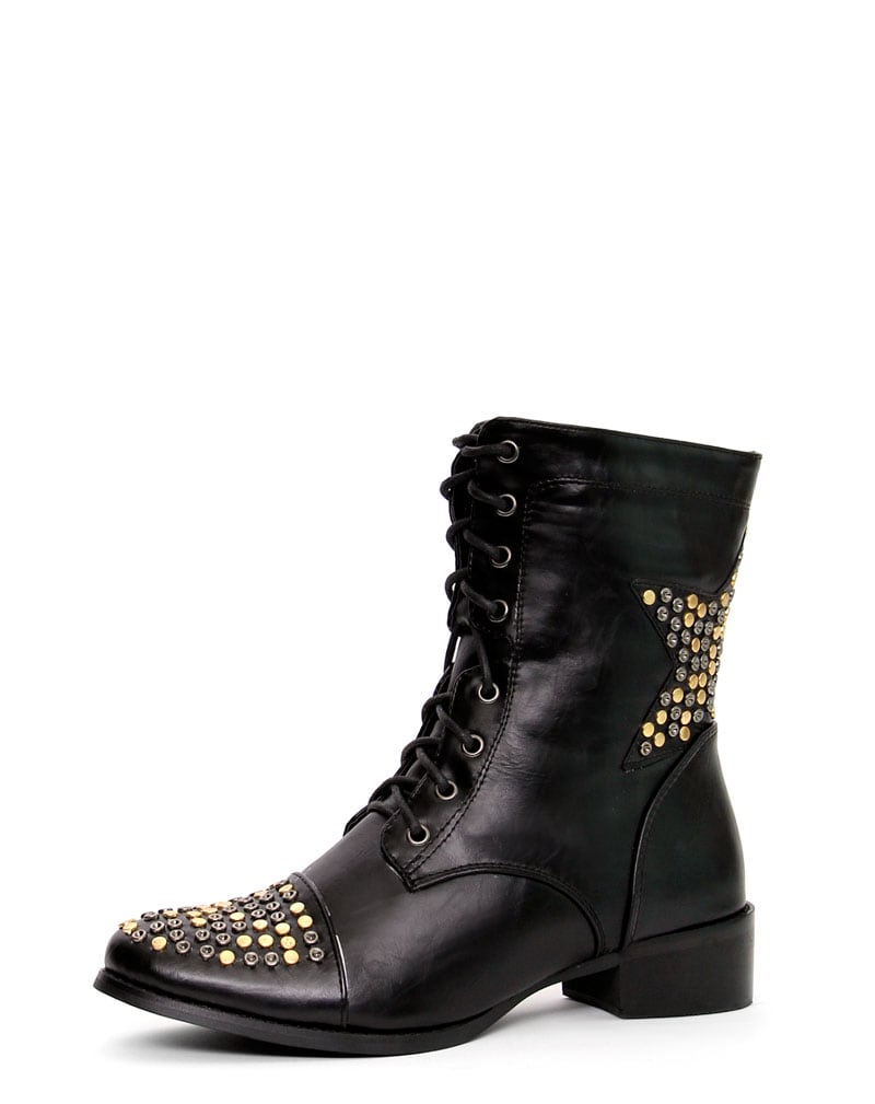 Roxanna Star Stud Black Lace Up Boots 1