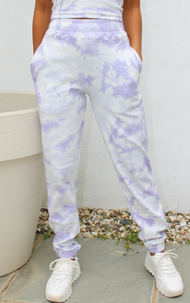 Petite Lilac Ribbed Tie Dye Oversized Cuff Joggers 2