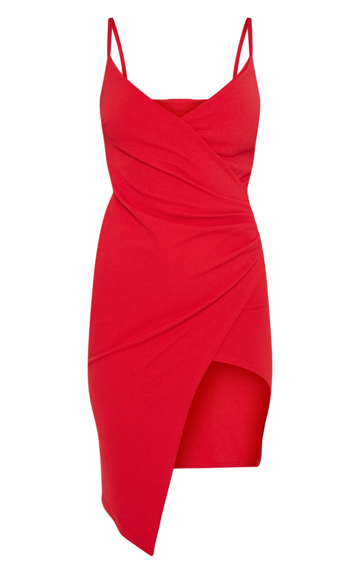 Lauriell Red Wrap Front Crepe Midi Dress 3