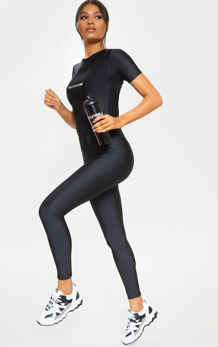PRETTYLITTLETHING Black Basic Logo Gym Leggings 1