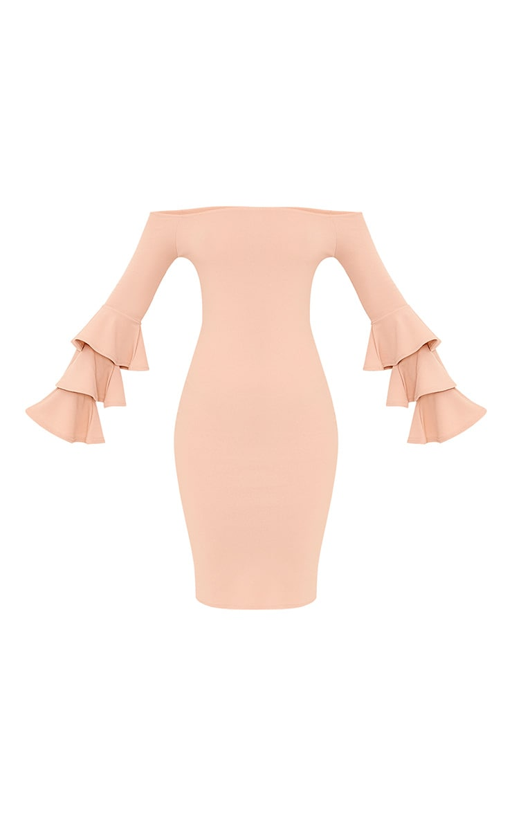 Aniaa Nude Bardot Ruffle Sleeve Midi Dress 3