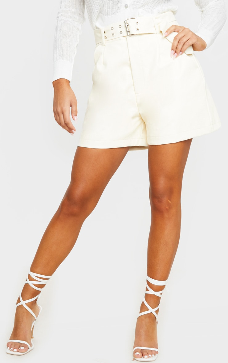 Cream Oversized Belted Faux Leather Tailored Shorts 2