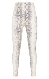 White Snakeskin Faux Leather Skinny Pants 3