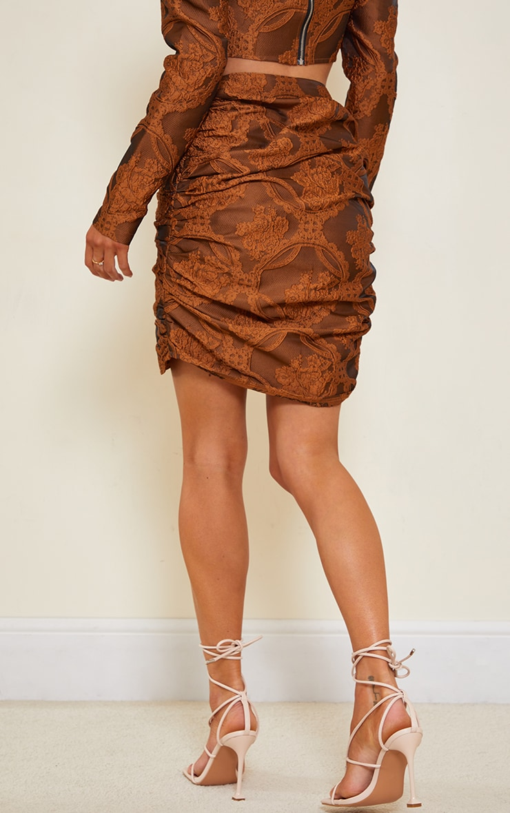 Camel Structured Embossed Jacquard Panel Front Puff Mini Skirt 3