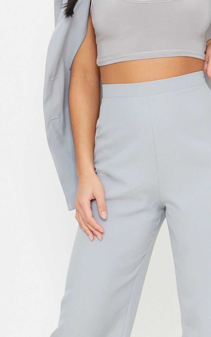 Petite Soft Grey Wide Leg Suit Pants 4