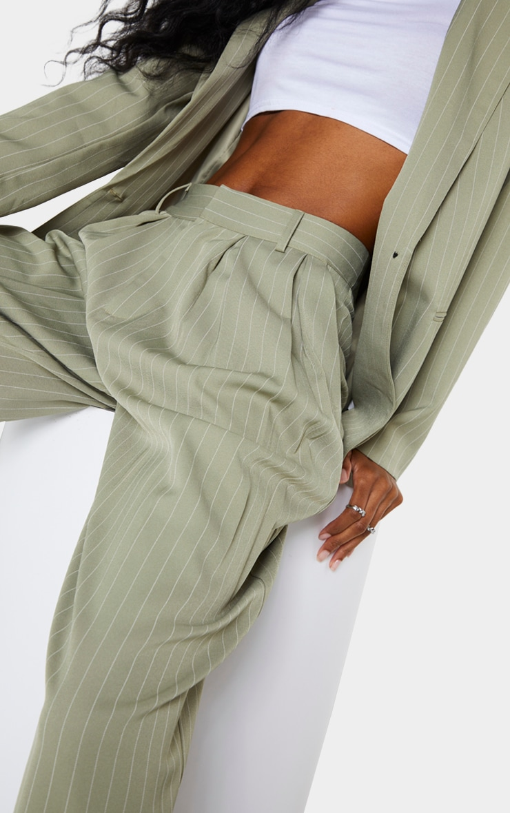 Sage Green Pinstripe Woven High Waisted Cigarette Pants 4