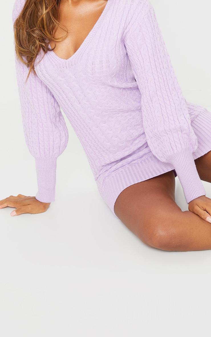Lilac Cable Knit V Front Jumper Dress 4