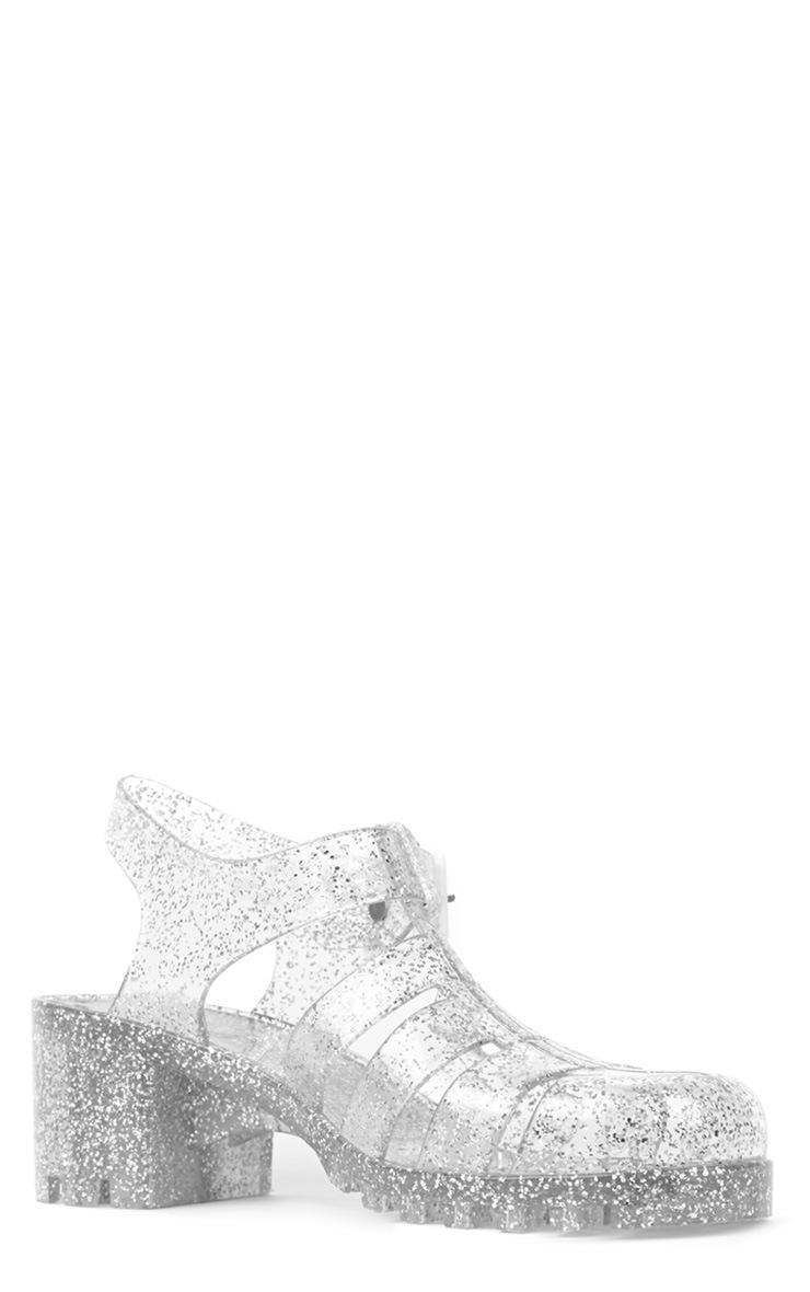 Billie Silver Glitter Heeled Jelly Sandals 3