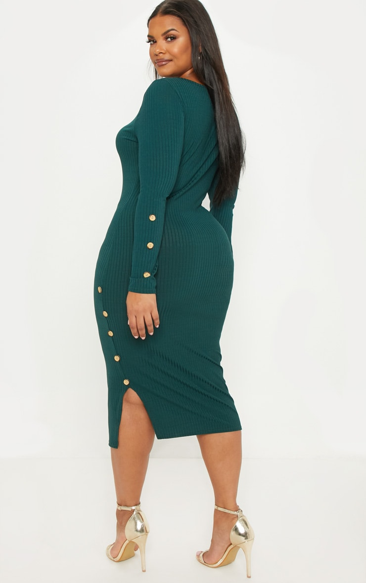 Plus Emerald Green Ribbed Tortoise Button Detail Midi Dress 2