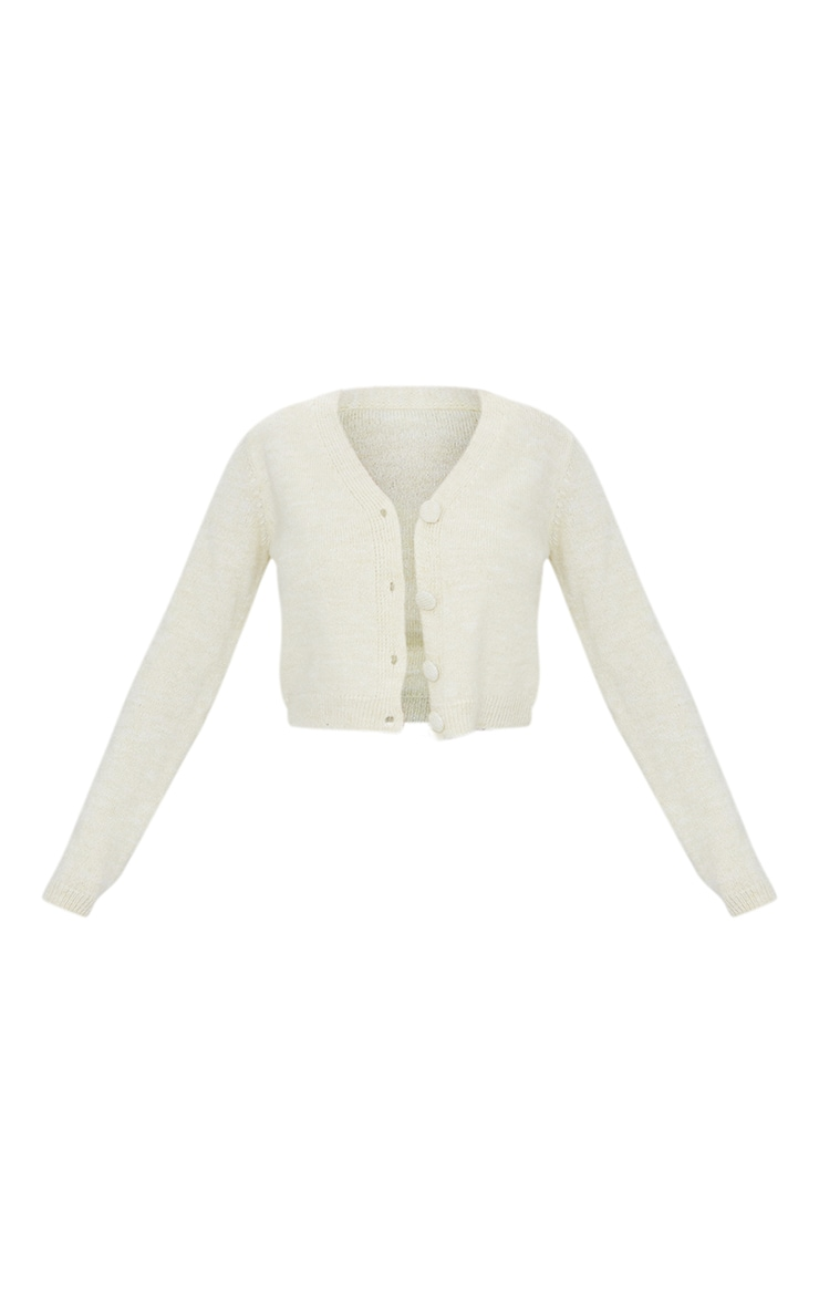 Cream Cosy Knitted Cropped Button Down Cardigan 5