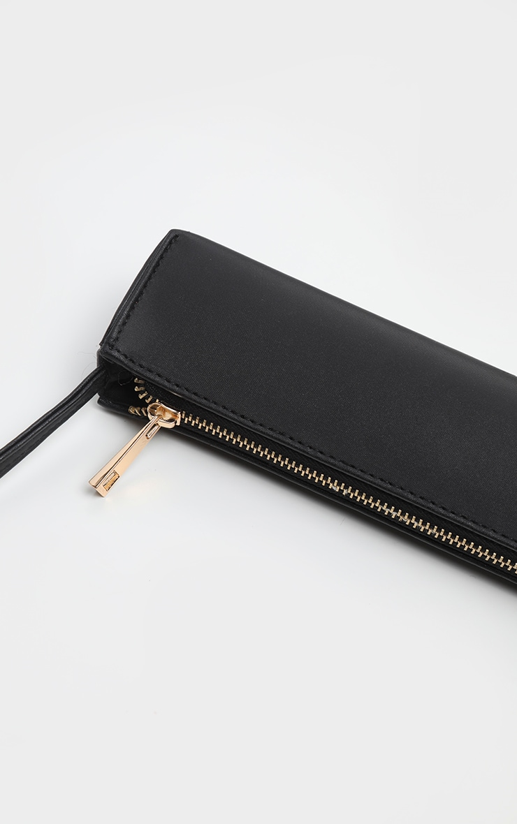 Black Satin Thin Baguette Bag 3
