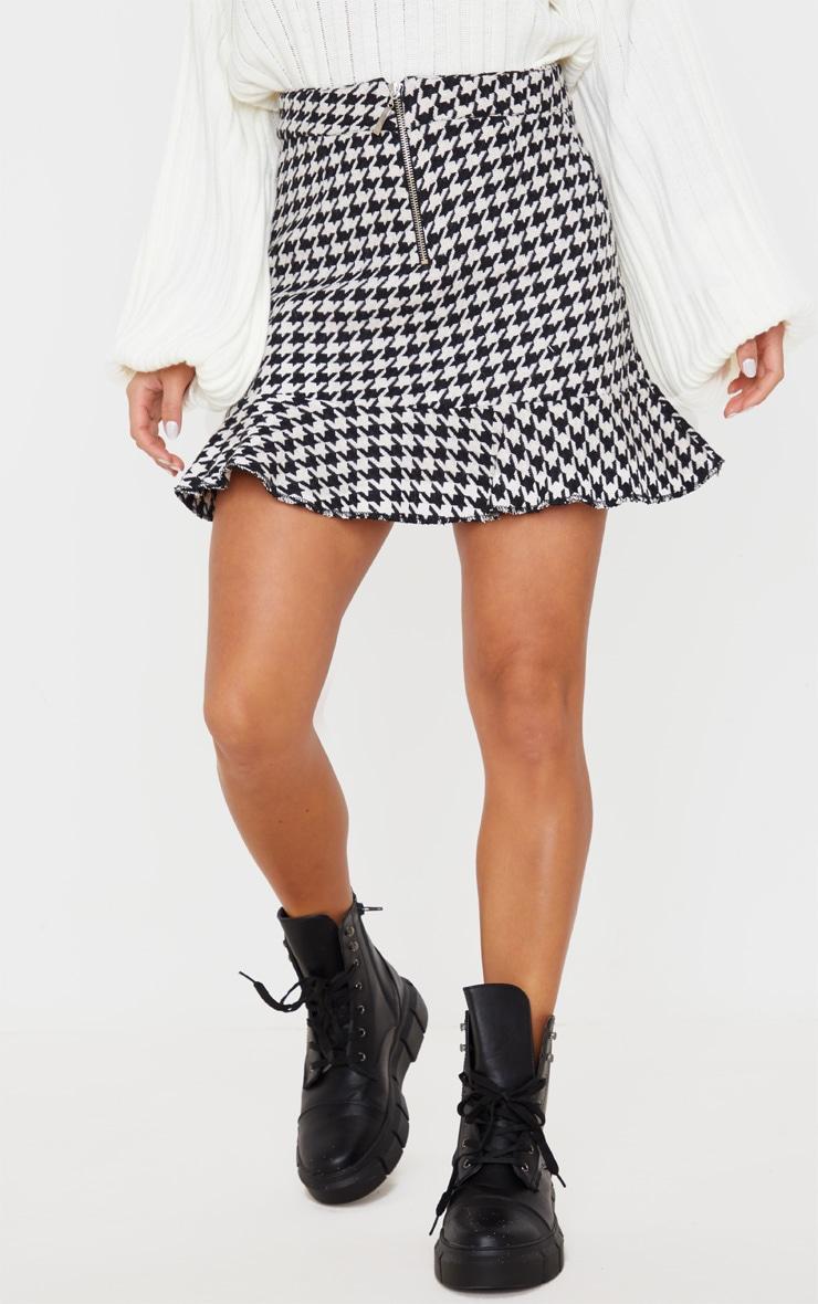 Petite Cream Flippy Hem Dogtooth Zip Mini Skirt 2