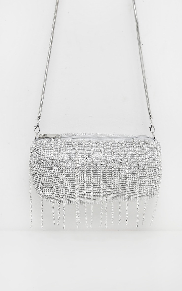 Silver All Over Diamante and Tassel Barrel Bag      2