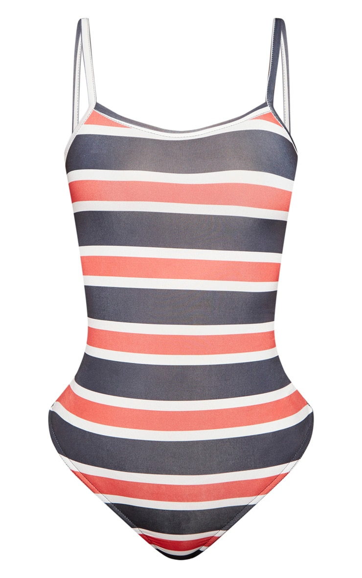 Shape Red Striped Strappy Scoop Neck Bodysuit 3