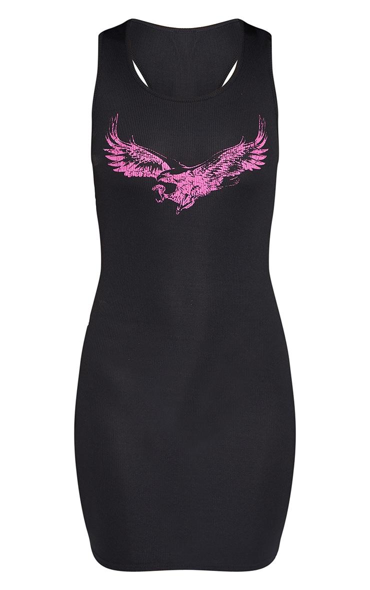 Black Eagle Print Rib Bodycon Dress 5