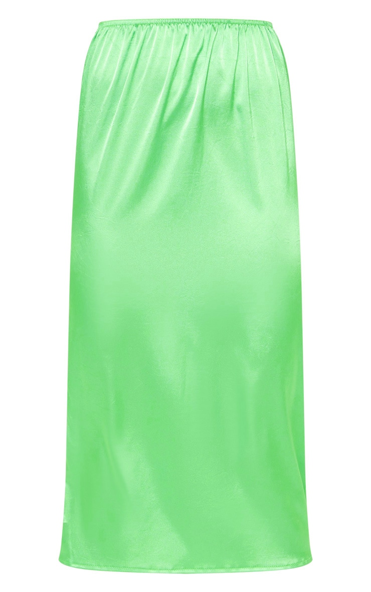 Green Satin Midi Skirt 5