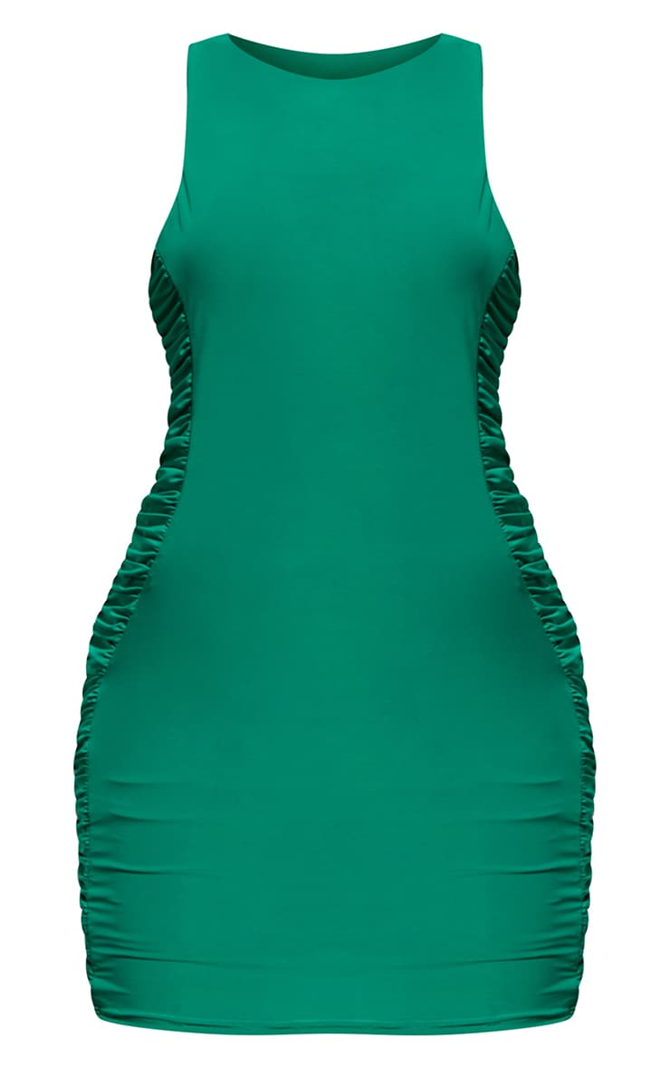 Green Slinky Racer Neck Ruched Side Bodycon Dress 5