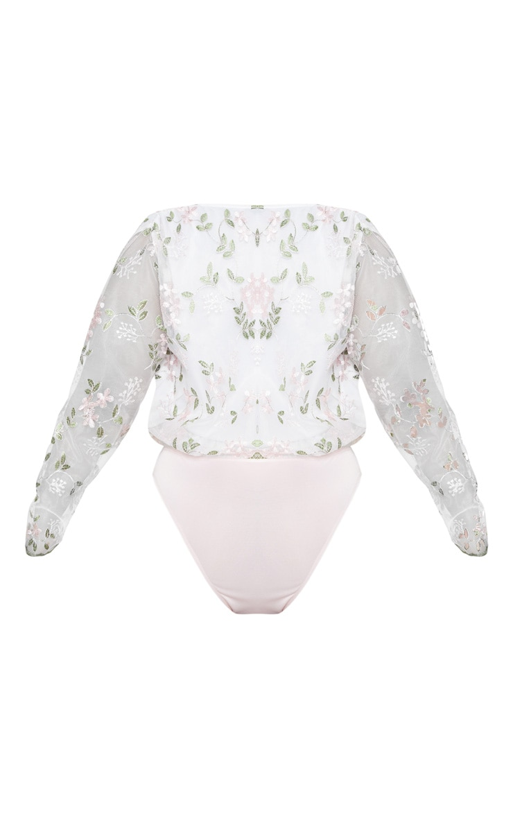 Plus White Floral Embroidered Bodysuit  4