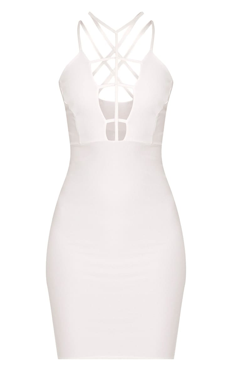 Alessy White Cage Detail Cross Back Bodycon Dress 3