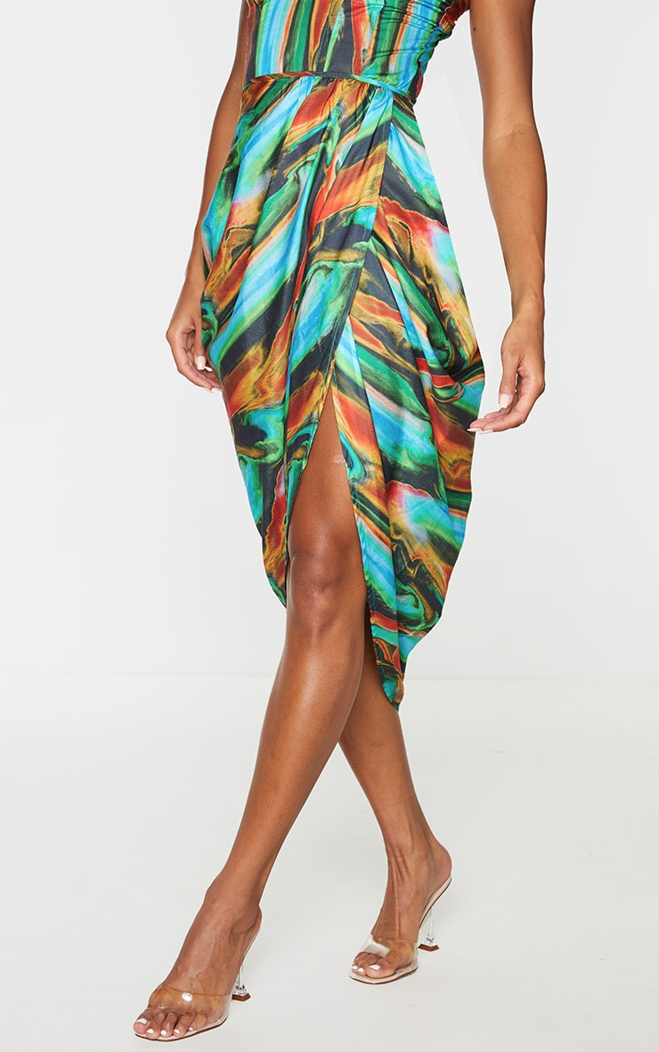 Blue Multi Abstract Print Woven Ruched Side Midi Skirt 2
