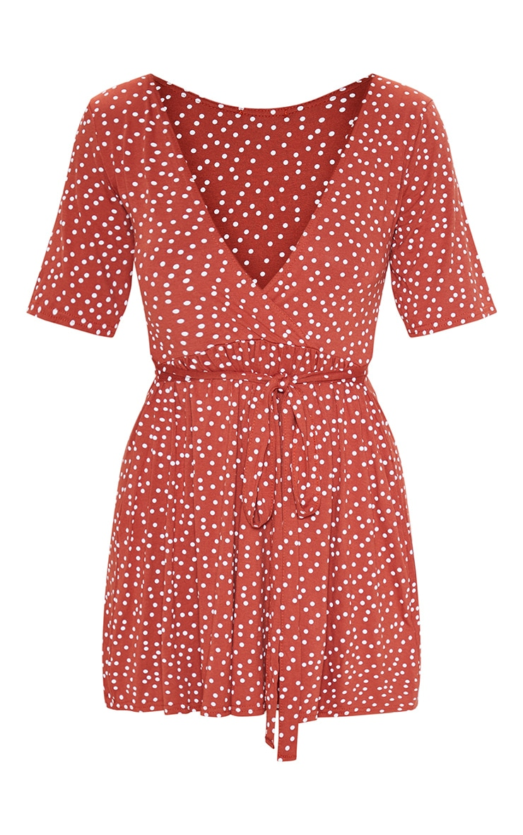 Terracotta Polka Dot Print Wrap Tea Dress 3