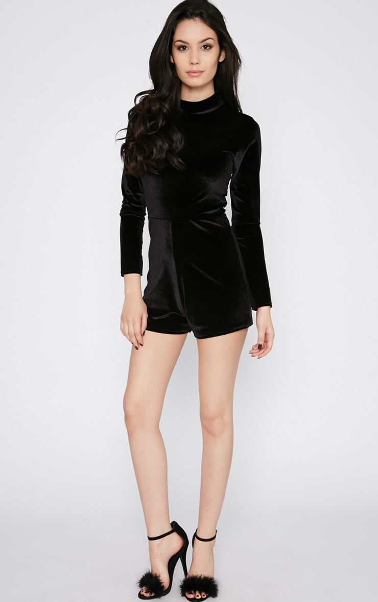 Sylvie Black Velvet Playsuit  3