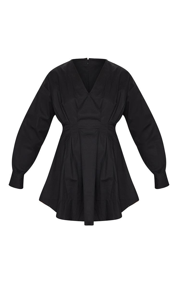 Black Woven V Neck Pleated Waist Shirt Dress 5