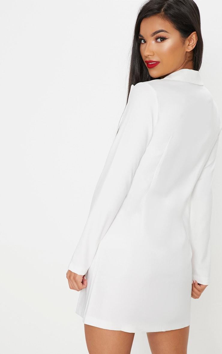 White Pocket Detail Blazer Dress 2