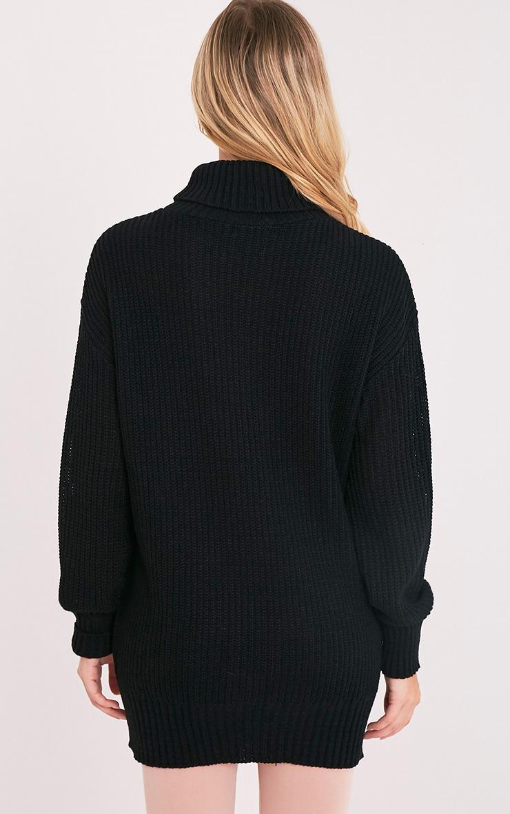 Zora Black Oversized Turtle Neck Knitted Jumper 2
