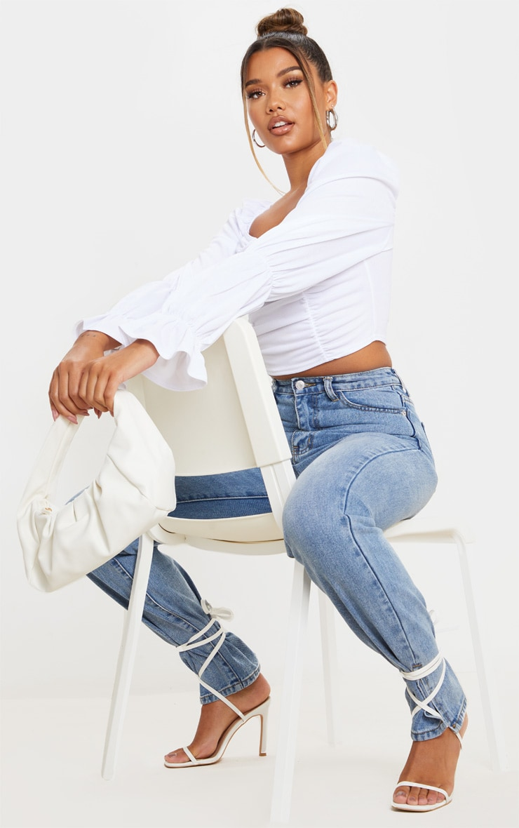 White Crepe Ruched Detail Long Sleeve Crop Top 3