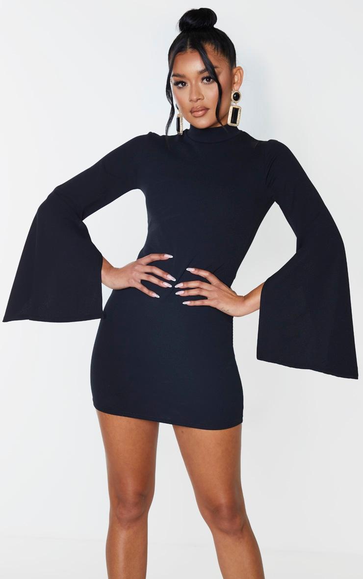 Black High Neck Flared Sleeve Bodycon Dress 1