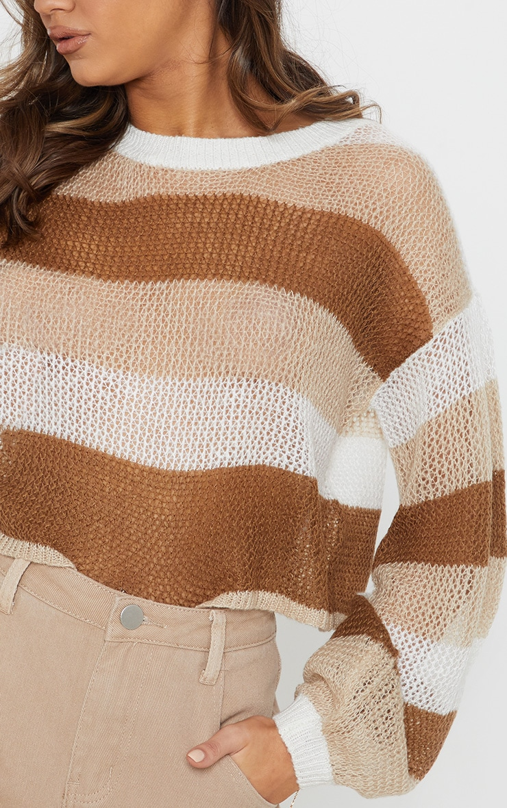 Cream Striped Knitted Cropped Laguna Jumper  5