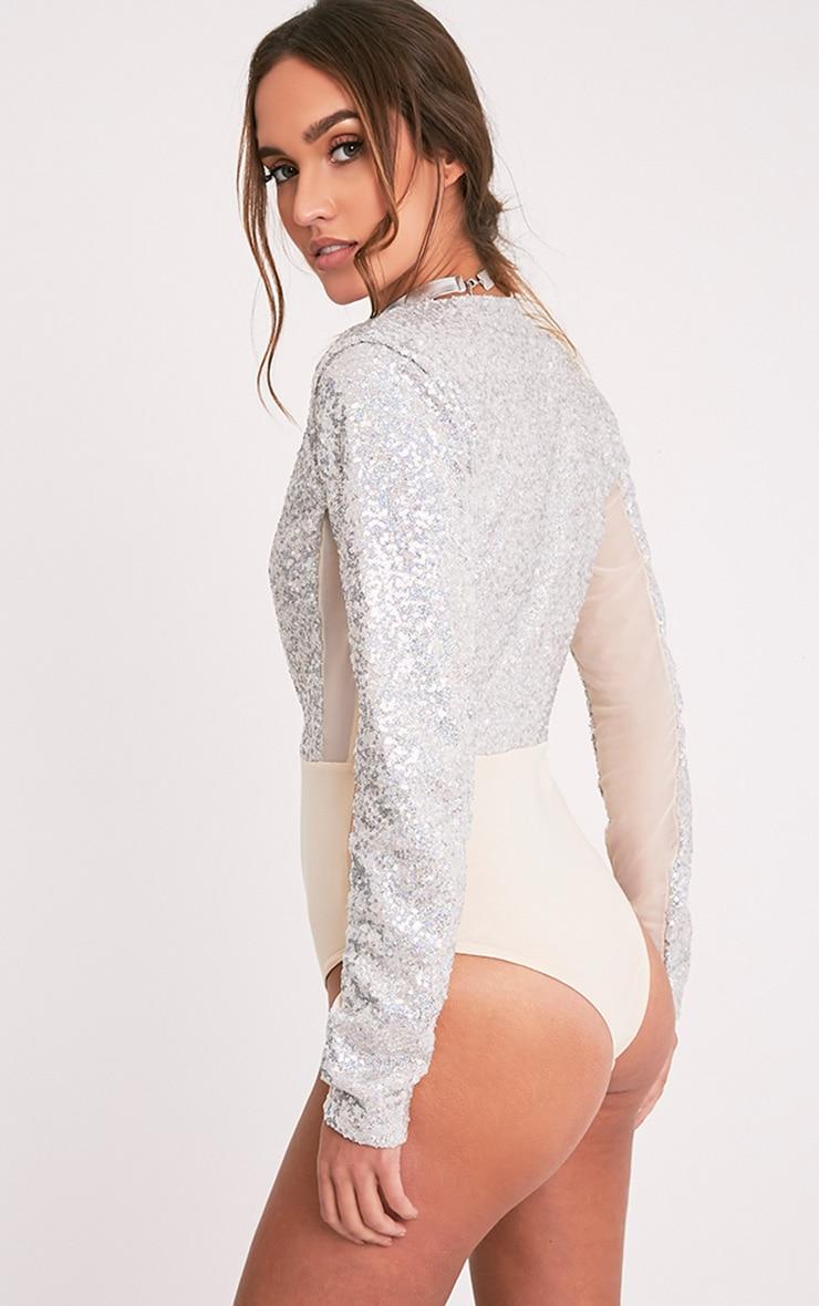 Kimberlyn Silver Sequin Plunge Mesh Thong Bodysuit 5