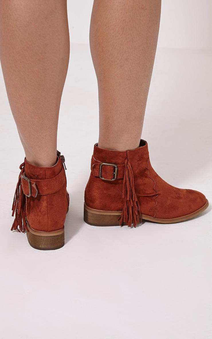 Lane Tan Tassel Faux Suede Buckle Ankle Boots 2
