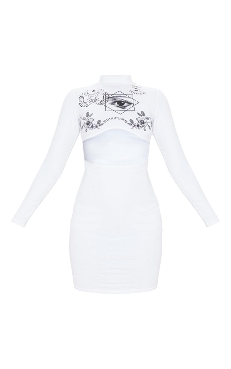 PRETTYLITTLETHING - Robe moulante blanche à découpe et imprimés variés 3