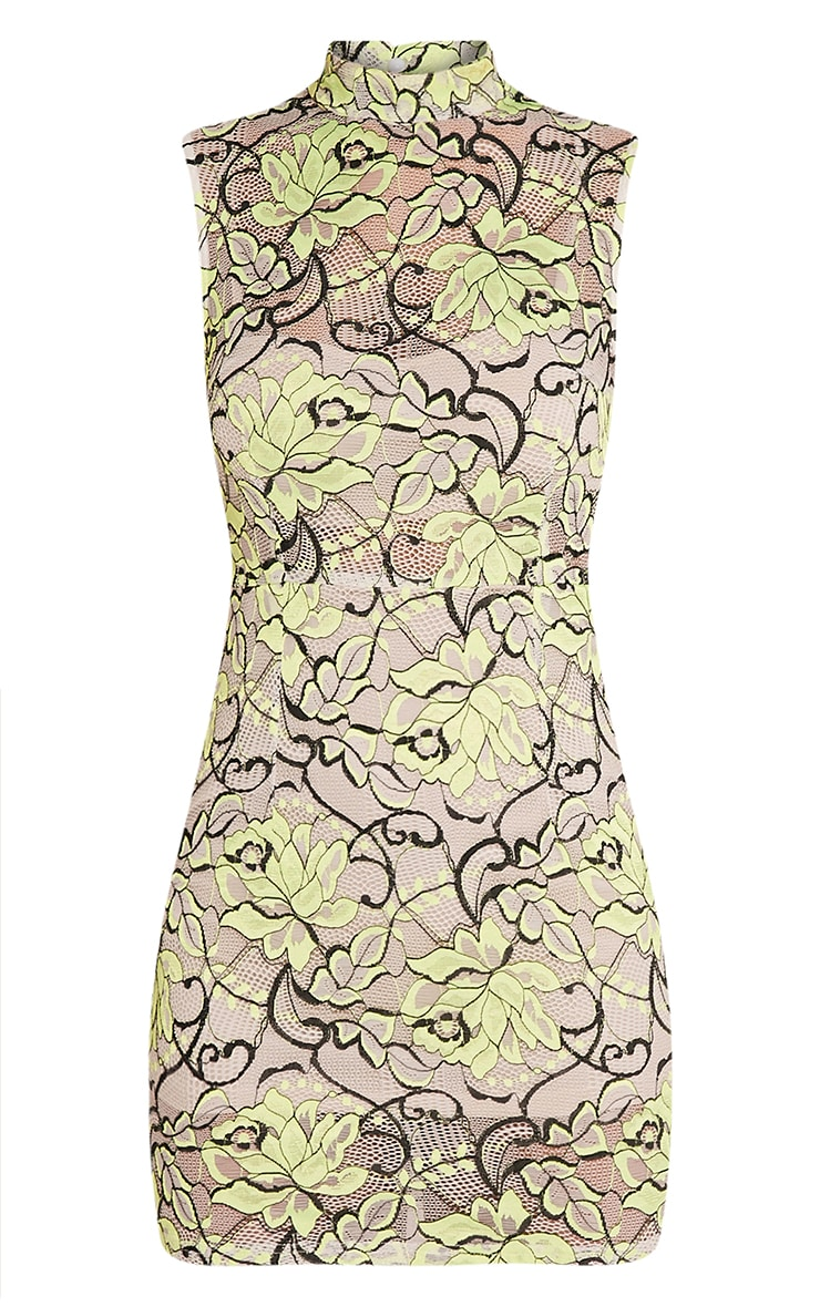 Saffie Lime High Neck Lace Bodycon Dress 3