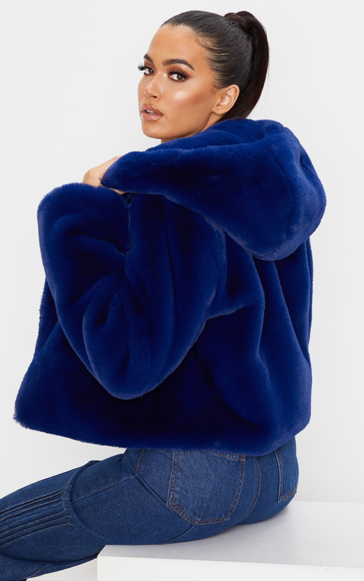 Blue Cropped Faux Fur Hooded Coat 2