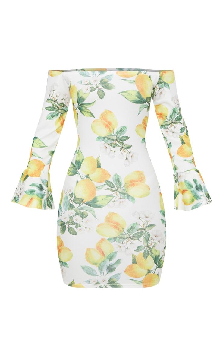White Lemon Print Bardot Flared Sleeve Bodycon Dress 3