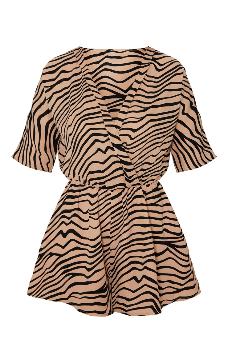 Tan Zebra Print Wrap Front Playsuit 3