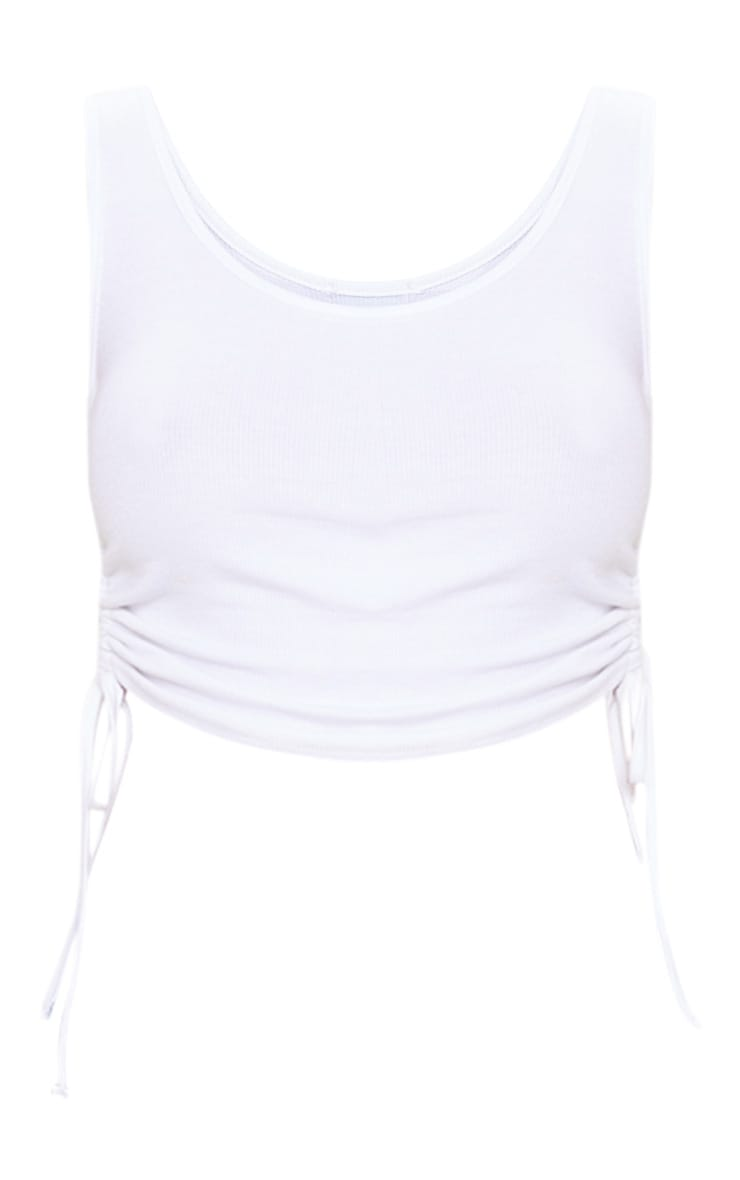 White Rib Ruched Side Vest Top 3