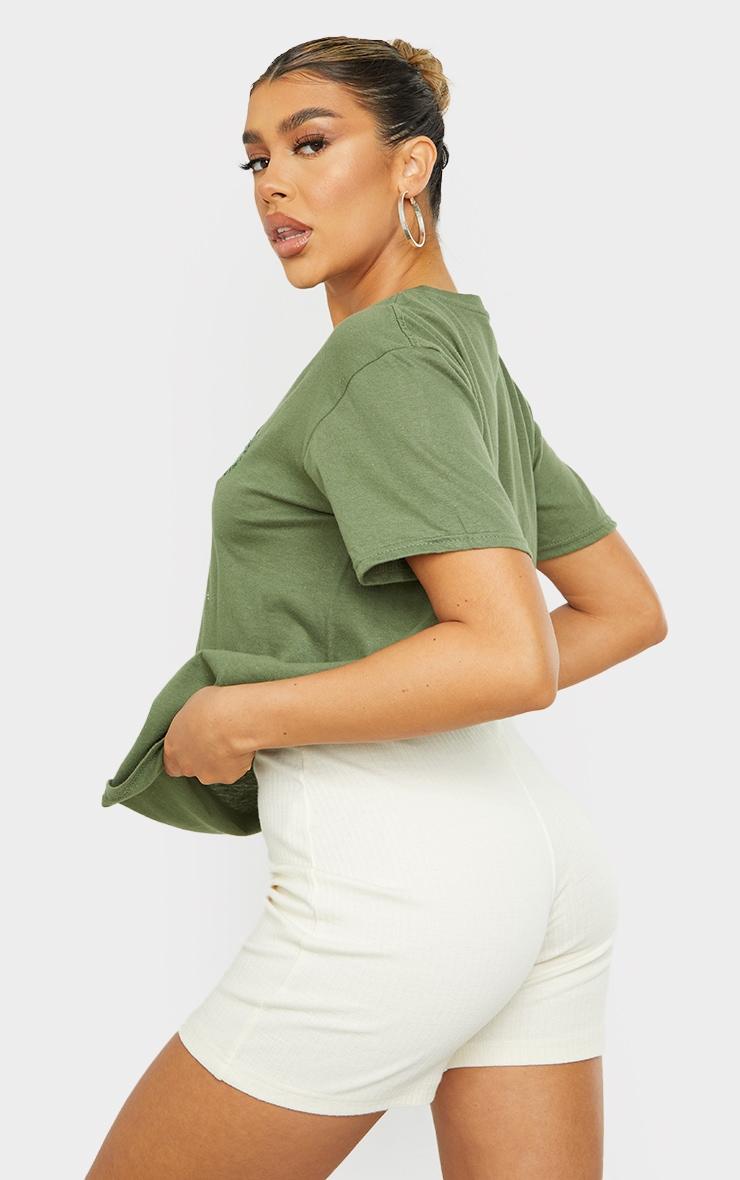 PRETTYLITTLETHING Khaki Circle Embroidered T Shirt 2