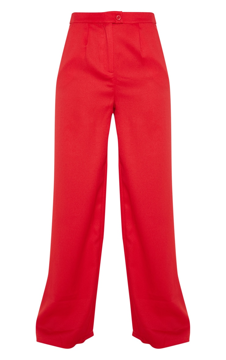 Red Formal Button Wide Leg Trouser 3