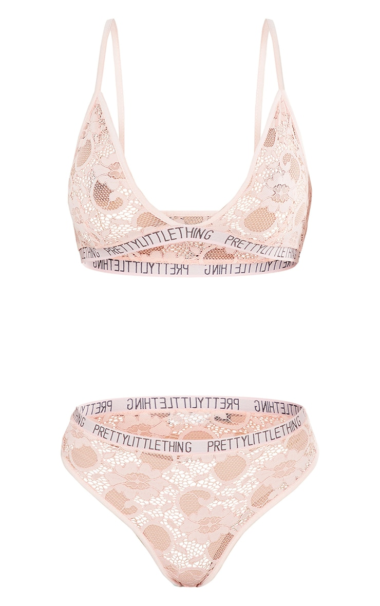PRETTYLITTLETHING Blush Triangle Lace Lingerie Set 5
