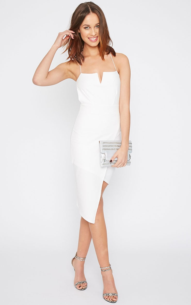 Raye White Cross Back Asymmetric Dress  3