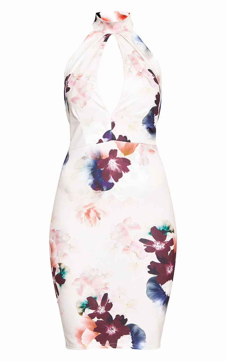 Cream High Neck Floral Midi Dress  3