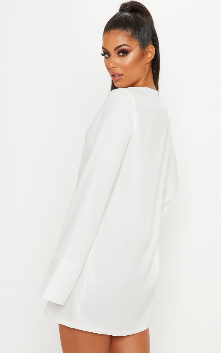 White Plunge Flare Sleeve Blazer Dress 2