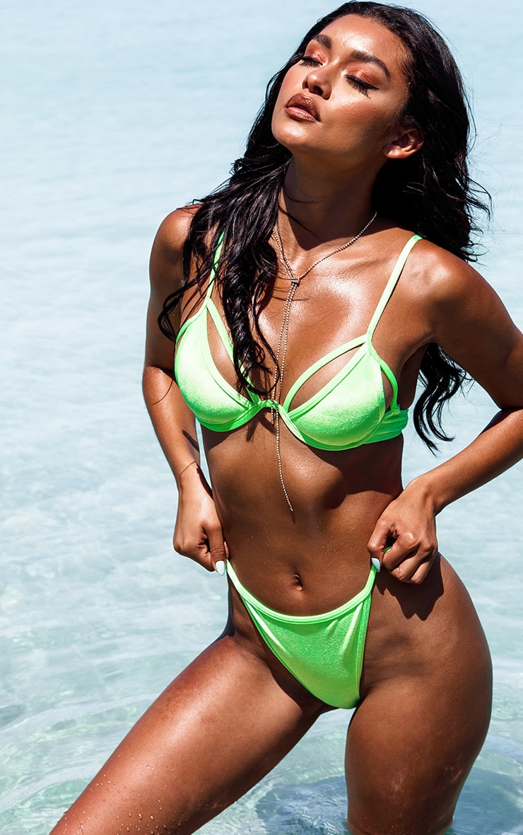 Neon Green Velvet Underwired Bikini Top