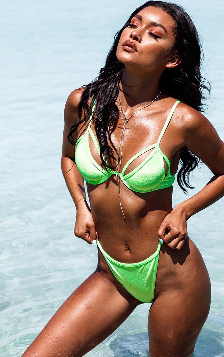 Neon Green Velvet Underwired Bikini Top 1