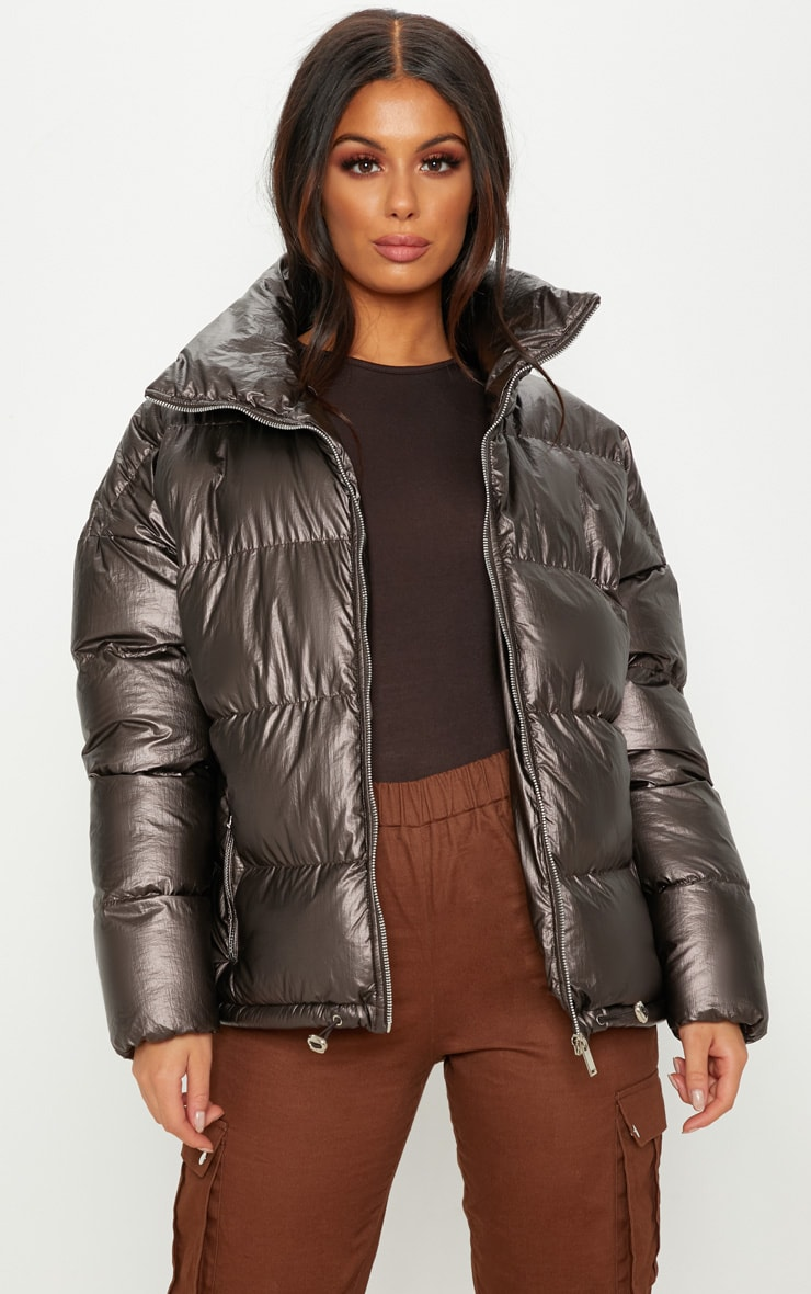 Brown Metallic Puffer