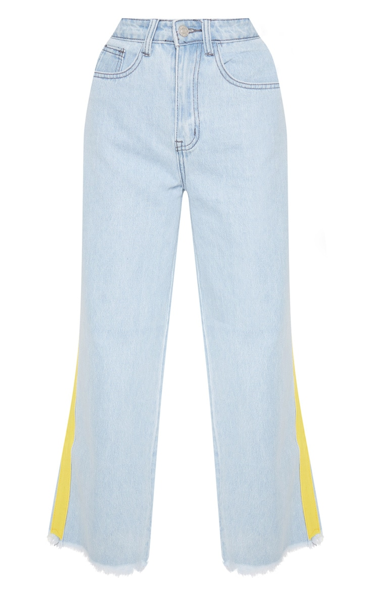 Light Wash Yellow Side Stripe Crop Jean  3